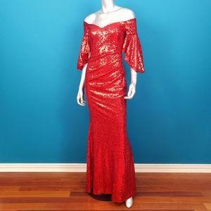 CITY GODDESS 1930'S Red Sequin Maxi Dress / (NWT)